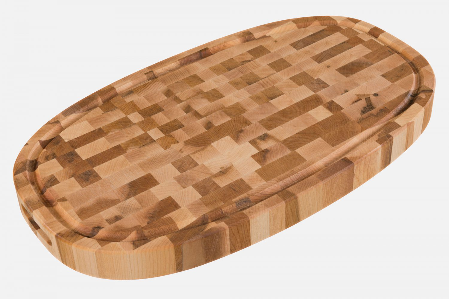 Oval butcher block with end grain
